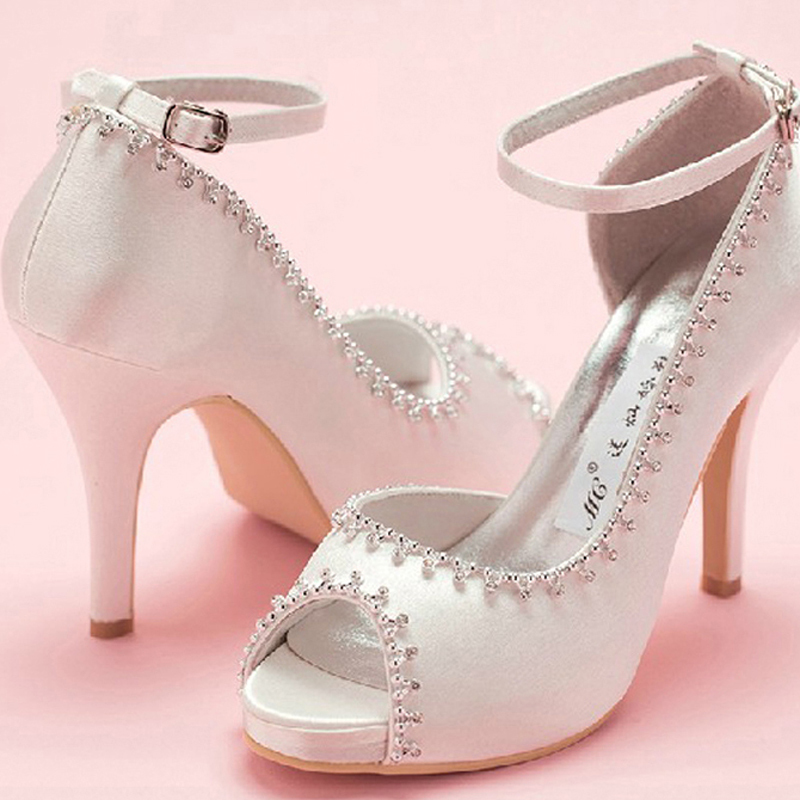 Peep Toe Satin Wedding Dress Shoes Woman White Bridal Shoes Lady Prom Prom High Heels Bridesmaid Shoes with ankle strap(China (Mainland))