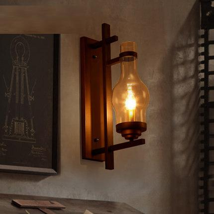Vintage Style Bedroom Wall Lights : Loft Style Iron Glass Wall Sconce Industrial Vintage Wall Light For Home Bedroom Antique Wall ...