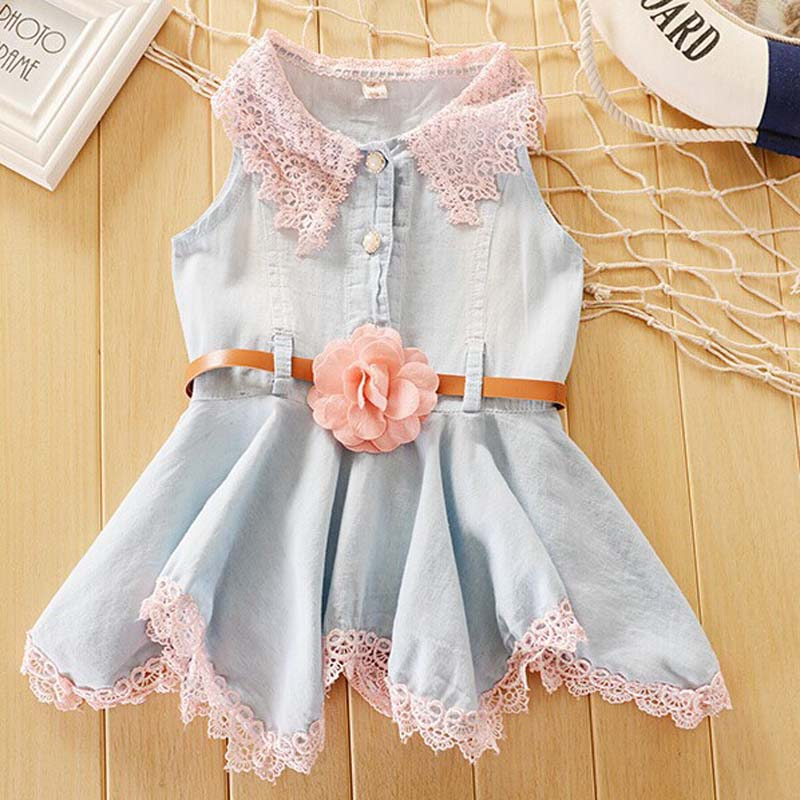 Baby Girl Lace Dress vestidos Kids Cute Flower Summer Party Princess Jeans Dresses baby girl Sleeveless Christmas Clothes(China (Mainland))