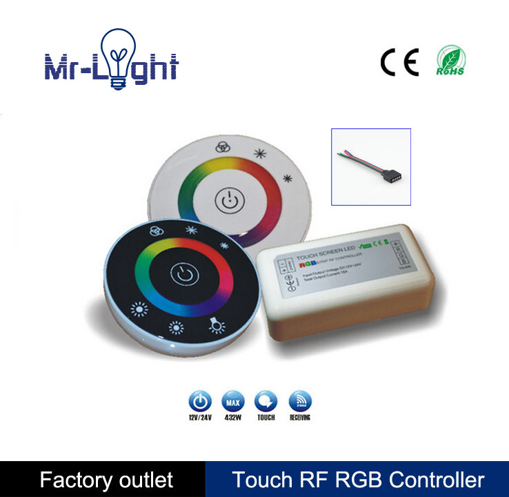 Touch RGB controller DC12V 24V 18A 2.4G LED Controller RF Wireless Touch Panel LED RGB Remote Control Touch-02(China (Mainland))