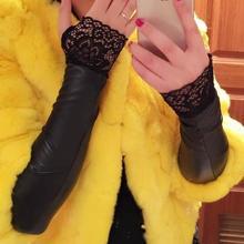 Leather gloves Women Winter Arm sleeve oOversleeps Long fingerless semi-finger Arm Warmer(China (Mainland))