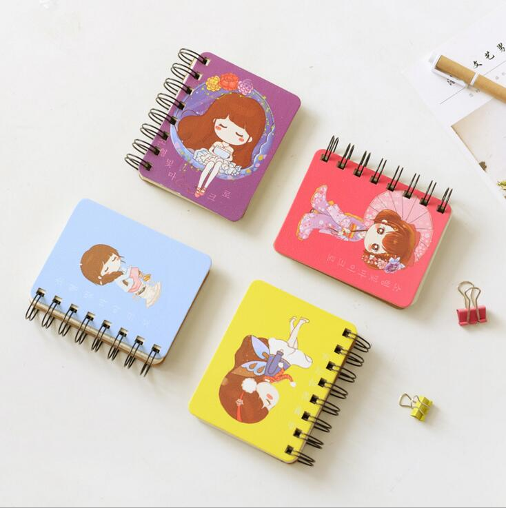 Sweet Little Girls Hard Cover Coil Book Portable Pocket Notebook Diary Notepad Escolar Papelaria(China (Mainland))