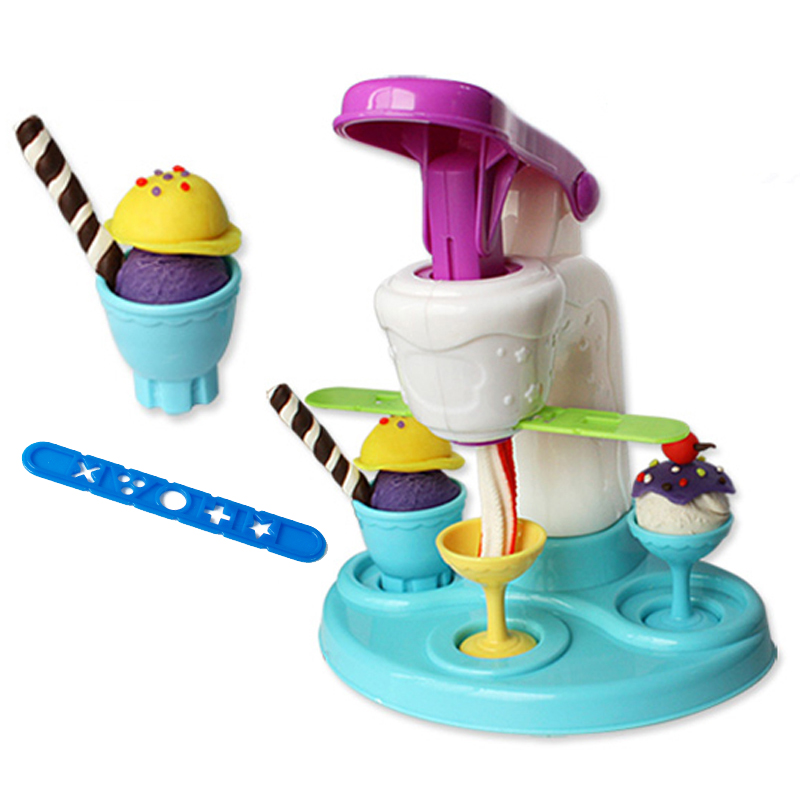 Brand New Intelligent Plasticine Clay Polymer Ice Cream Machine Play Doh Plasticine Fimo Polymer Clay DIY Playdough Tools Toys(China (Mainland))