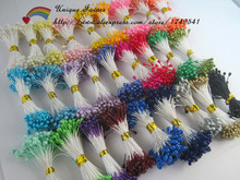 1000pcs/lot Assorted Colors Pearlized Stamen Double Heads Floral Stamen Artifical Flower Stamen Craft Card Cake Decor Floral(China (Mainland))