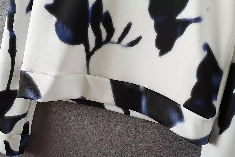 Lt371 новинка женская элегантный сладкий цветочный принт старинные о длинным рукавом футболки свободного покроя бренда вершины
