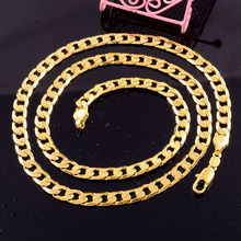 2015 new heavy 14k yellow gold filled Wmens men s necklace curb chain Fashion jewelry
