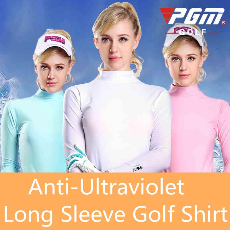 Pgm women's golf clothes golf anti-ultraviolet clothing basic shirt long sleeve shirt, ladies golf clothes, golf clothing women(China (Mainland))