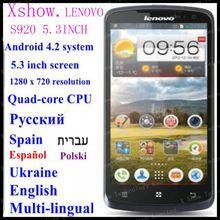 FREE SHIPING instock  Original Lenovo S920 phone 5.3 inch  Quad-core CPU 4G ROM 1G RAM 8M Camera russia  aviliable ANDROID4.2(China (Mainland))