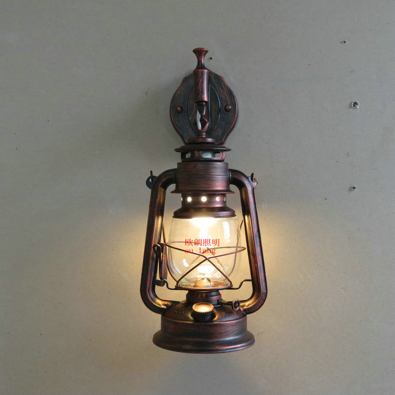 Wall Kerosene Lamps : Fashion iron antique wall lamp vintage lantern kerosene lamp wall lamp E27 GB Screw a bulb ...