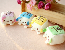 Kawaii Mini Tofu Random Colors 3CM DOLL Keychain DOLL TOY ; Phone Strap Charm TOY DOLL ; Wedding Bouquet Decor TOY DOLL(China (Mainland))