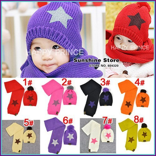 Star baby hats for children and scarf set,star winter hats,white children scarves sets gorro bebe #2C2509  5 set/lot(8 colors)