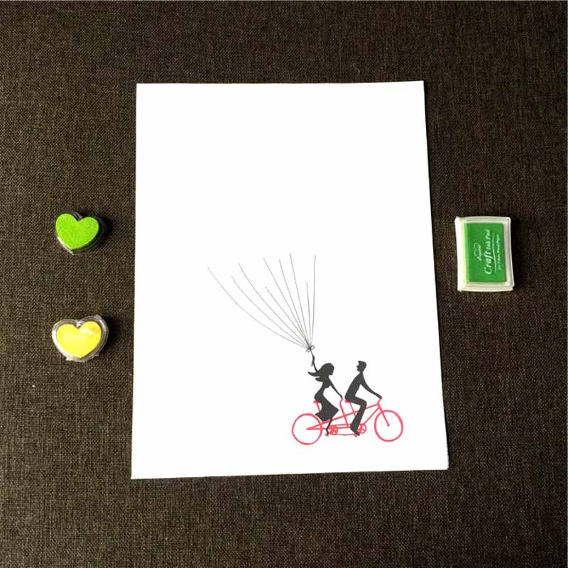Wedding Fingerprint Tree Hot Air Balloon Signature Guest Book With Ink Pad Set for Wedding Party