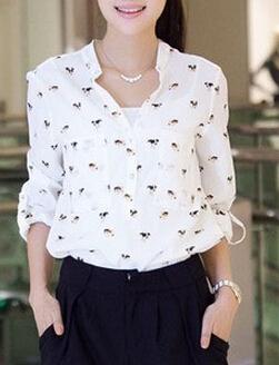 OVER SIZE NEW CHIC Korea za*Full- Sleeve Dog printed Blouse women Chiffon Shirts Blusa American apparel Autumn-Summer S-XXL(China (Mainland))