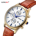 2016 LONGBO Luxury Brand Quartz Watch Casual Leather Watches Reloj Masculino Female Watch with Date Calendar