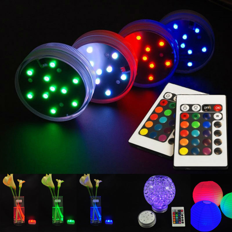 20pcs/LOT LED RGB Submersible LED Light, Multi Color Waterproof Wedding Party Vase Base Floral Light + Romote Controller(China (Mainland))
