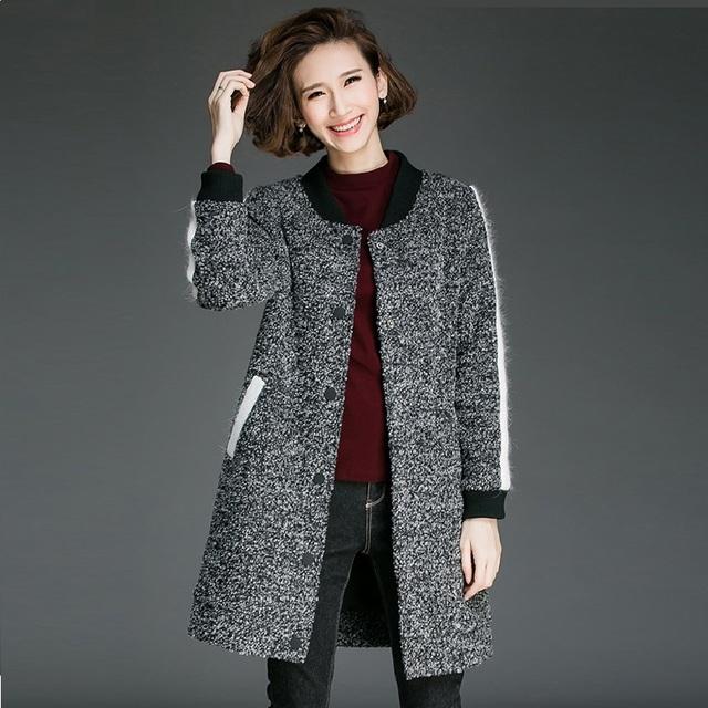 Новый 2016 Осень Зима женская Мода шерстяные пальто контрастного цвета женская куртка пальто и пиджаки женский пальто наряды XXXXXL 8171