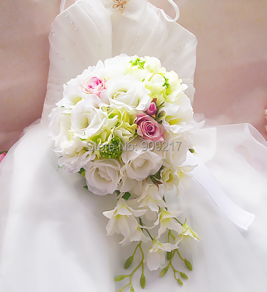 Artificial Bridal Bouquet White : Cm white and pink lily rose bridal bouquet artificial