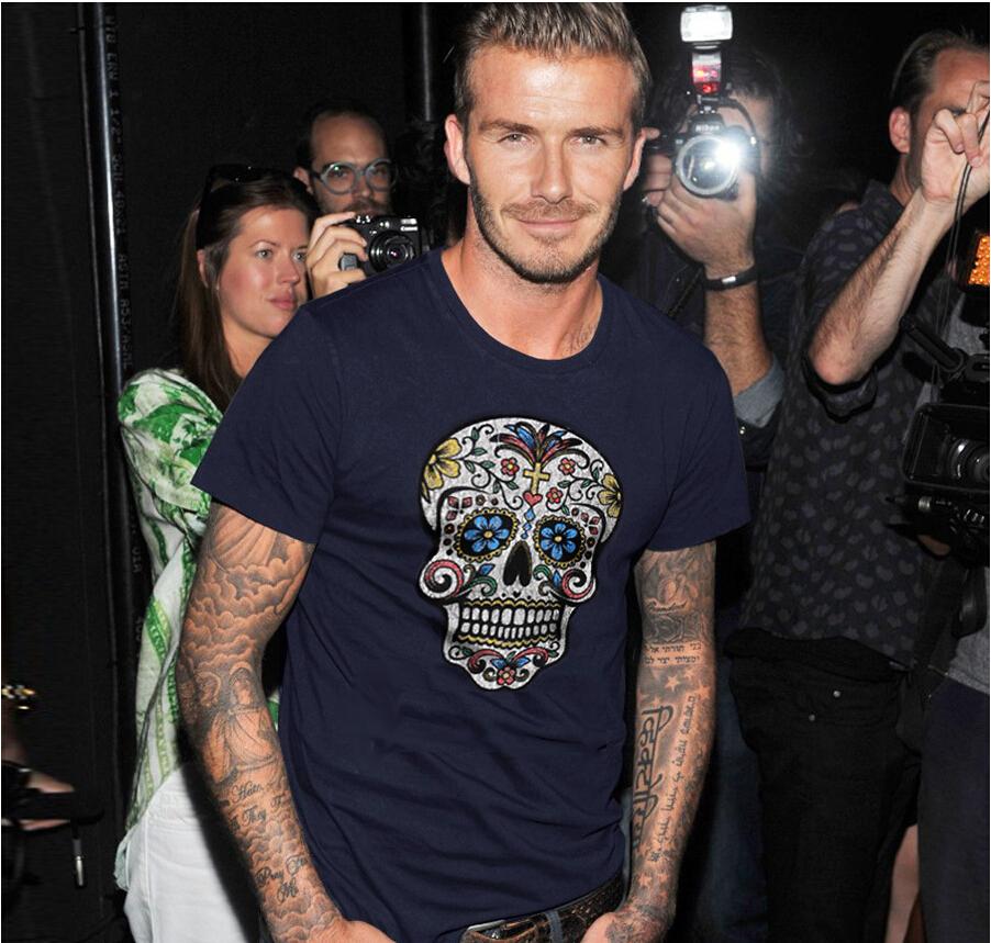2015 hot Summer David Beckham fashion casual T shirt skull tide brand men's short-sleeved cotton T-shirt tees(China (Mainland))