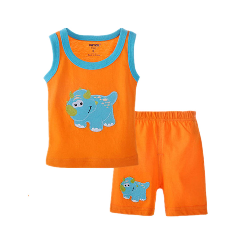 Baby Sets Cartoon Embroidered Vest + Shorts 2 Pcs Newborn Boys Girls Cotton Suits Kids Vest Sets 2016 Summer V20(China (Mainland))