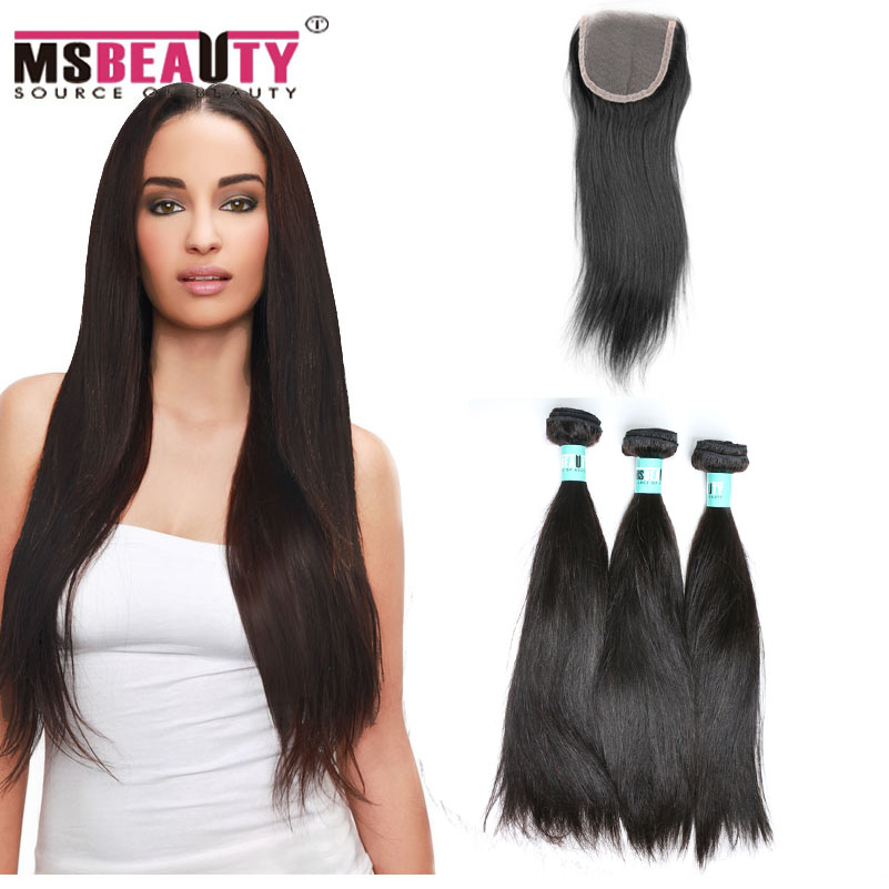 7A Peruvian Virgin Hair With Closure Peruvian Virgin Hair Straight 3 Bundles With Closure Human Hair Bundles With Lace Closure