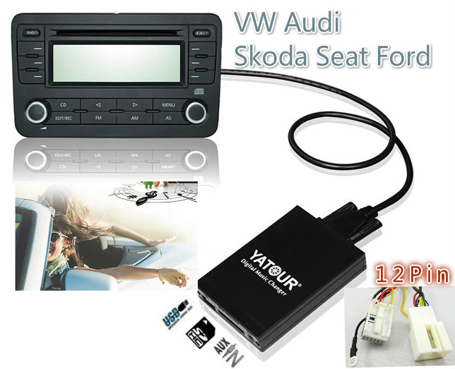 USB SD AUX MP3 Yatour Audio Digital music changer for VW Audi Concert 3,Chorus 3 Skoda Seat 12-pin MP3 Adapter Interface(China (Mainland))