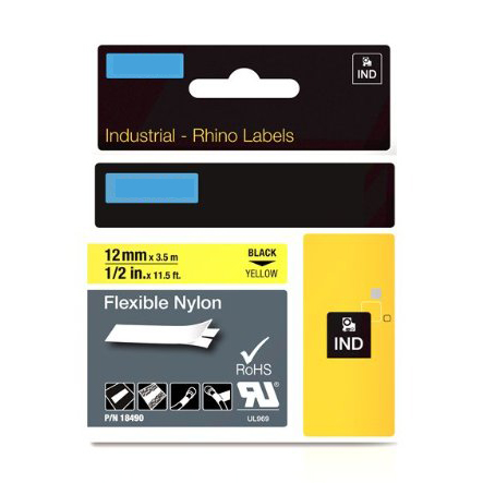 Molshine 1pc IND Industrial Flexible Nylon Label Tape Compatible for DYMO RhinoPRO 18490 Black on Yellow 12 mm x3.5 m(China (Mainland))
