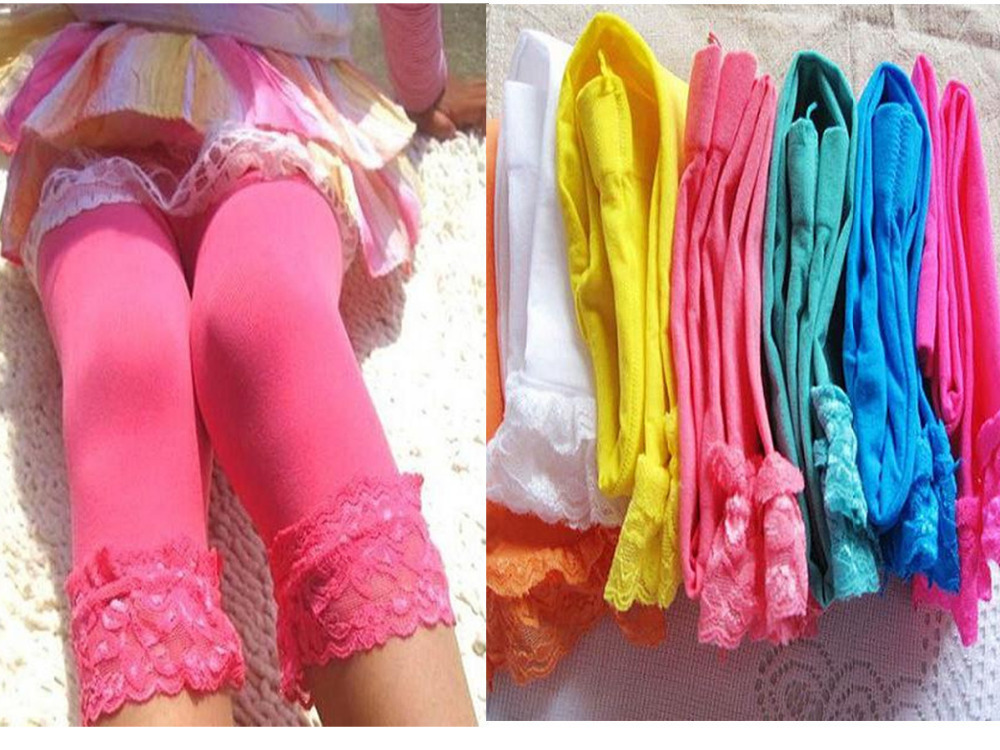 Candy Color Velvet Baby Kids Girl Legging Pants Colorful Lace Side Legging for Gilrs 5 9Y