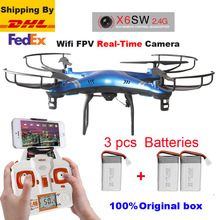 Free Shipping by DHL or FEDEX X6sw 2.4G 6-Axis RC helicopter drones quadcopter With HD Camera 2.0MP WIFI real-time transmission