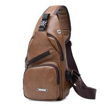 Cross-Border For Custom PU Shoulder Bag Men'S Charging Bag Men'S USB Chest Bag Diagonal Package Messenger Bag Chest New 2019(China)