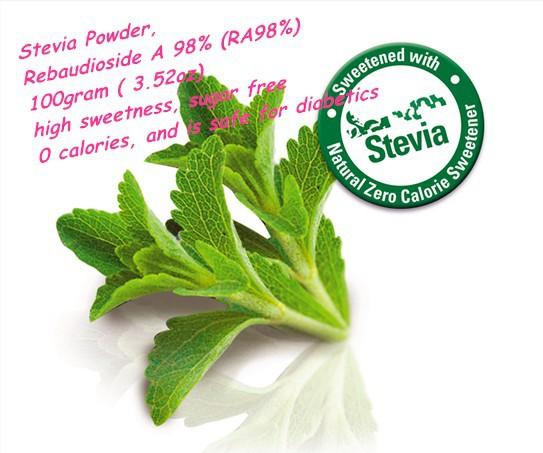 100gram(3.52oz) Stevia Powder Zero Calories Rebaudioside A 98% (RA98%) GMP manufacturer, Halal/ Kosher certificate<br><br>Aliexpress