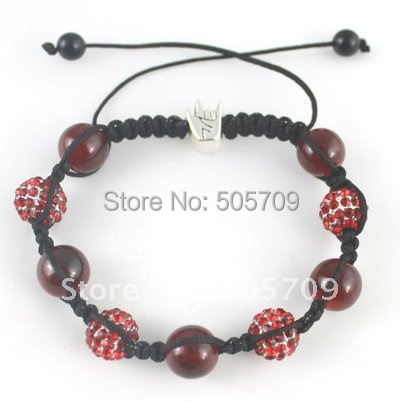 10pcs Handmade Ruby Hip-hop Rhinestone Ball Beads Shamballa Bracelet #20590<br><br>Aliexpress