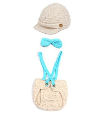 Gentleman Baby Boy Hat & DIAPER Cover Newborn Suspenders Bow Tie Crochet Photo Props Costume Crochet Baby Clothes(China (Mainland))