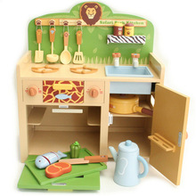 Large safari park kitchen Wood kitchenette Child play house cooking toys set 16pcs Forest style Multifunction table Stoves+Oven+(China (Mainland))