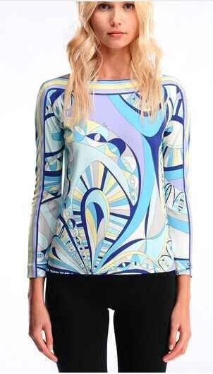 2015 Summer High Quality Luxury Brands Designer Top Women's Long Sleeve Blue Geometry Printed XXL Casual Sheath Tee(China (Mainland))