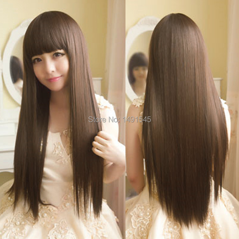 Women's Fashion HairStyle Light Brown Kinky Straight Long Wig Cosplay Costume Pelucas Wig Neat Bang(China (Mainland))