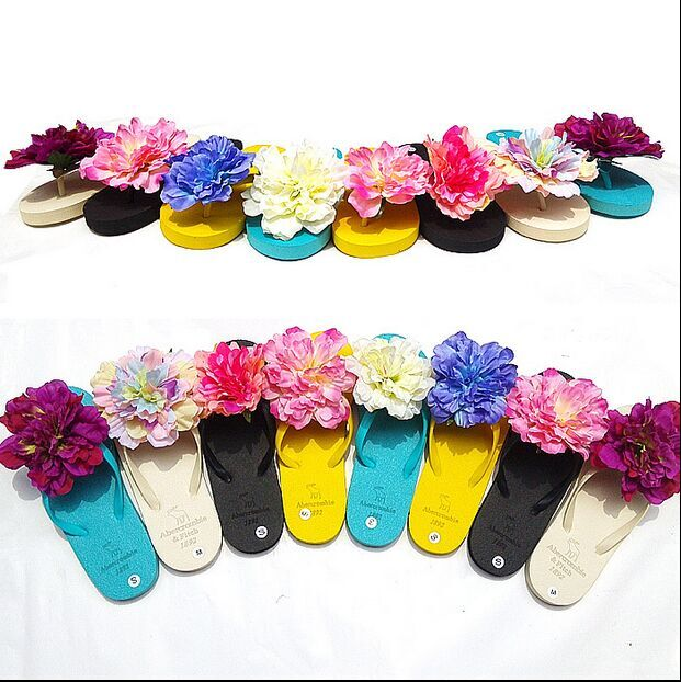 20 colour Big Flowers Slippers Female Summer Flowers Flip-flops Shoes Flat Slippers Sandals A8 FREE SHIPPING<br><br>Aliexpress