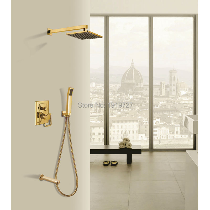 New Luxury Bathroom Brass 8 Inch Waterfall Rain Shower Head Arm Gold Wall Mounted Shower Faucet Set(China (Mainland))