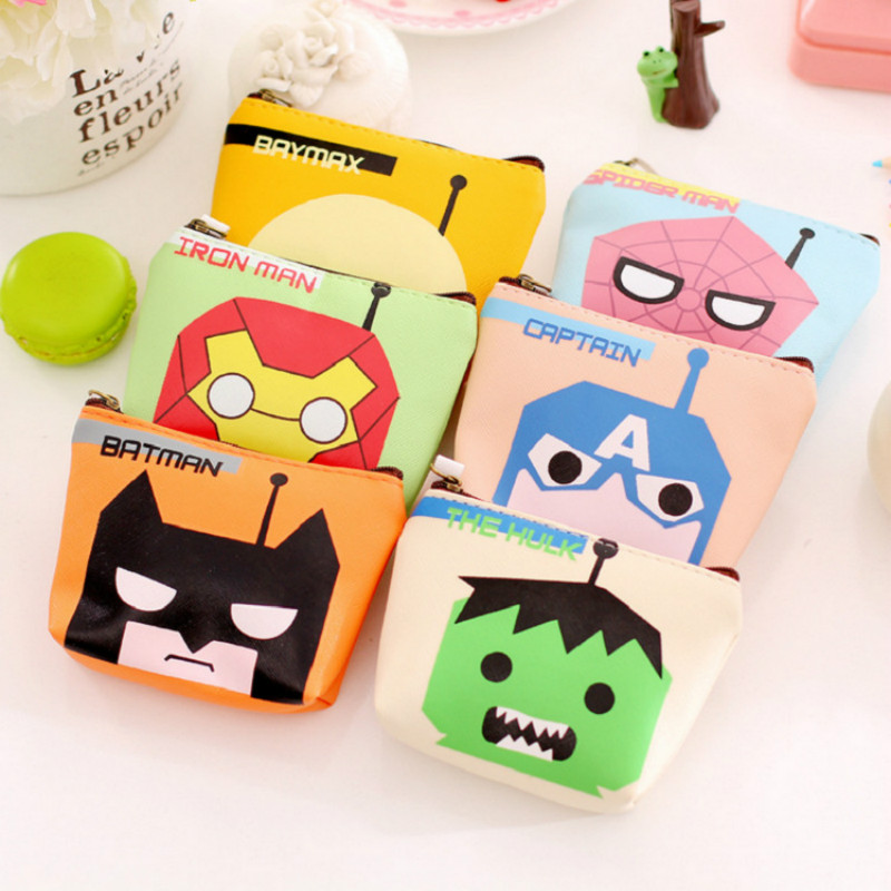 New Style Boys Pu Coin Purse Creative Cute Cartoon Animation Hero Storage Bag Purses Bags For Men Women Students(China (Mainland))
