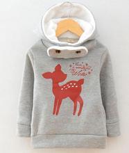 New plus velvet winter children sweater cartoon deer baby girls hoody thicken kids clothes fashion hoodies sudaderas sweatshirt(China (Mainland))