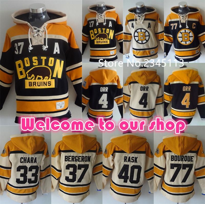 High Quality Boston Bruins Hoodie Pullover 4 Bobby Orr 37 Patrice Bergeron Hoody Cheap 33 Zdeno Chara Hockey Hoodie Sweatshirt(China (Mainland))