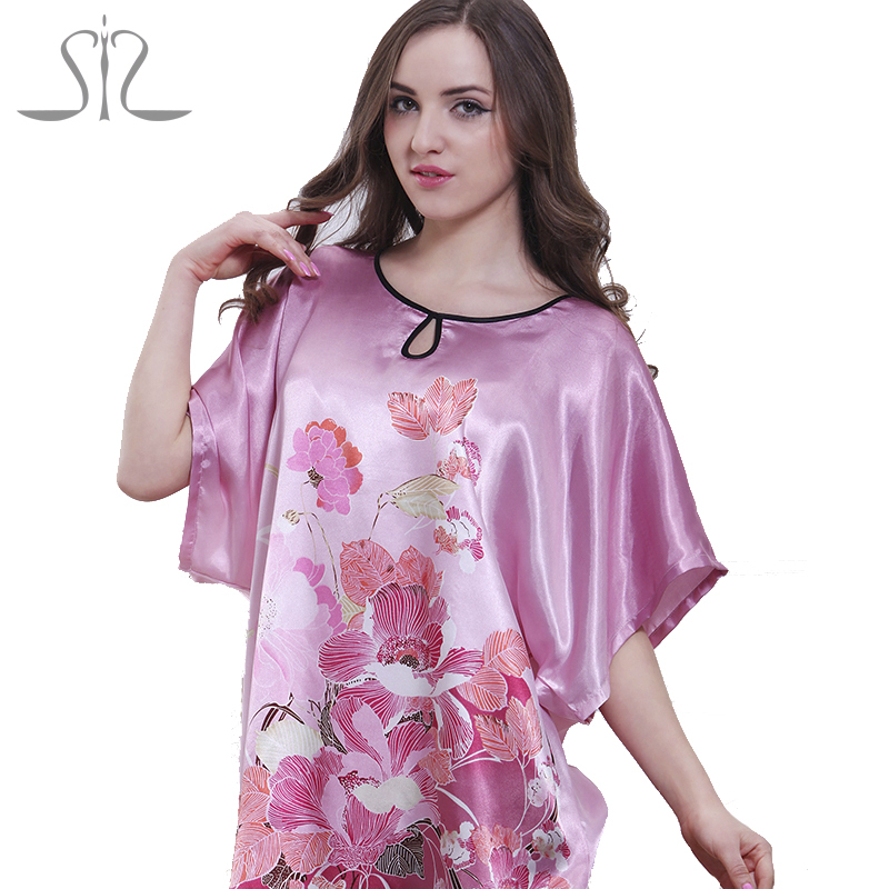 2015 Top Promotion Summer Style Silk Robe Longue Kigurumi Pajamas For Women Natural Satin Ladies Sleep Top 58060(China (Mainland))