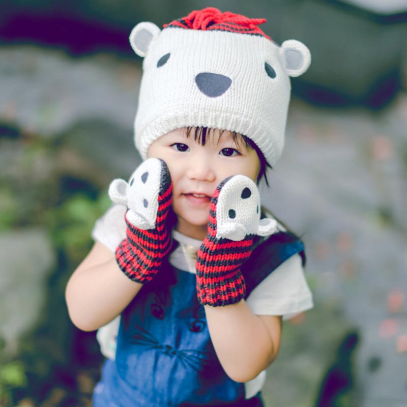 100% cotton fashion stripe crochet hat cute cartoon polar bear baby hat baby mittens kids warm winter hats gloves piece suit(China (Mainland))
