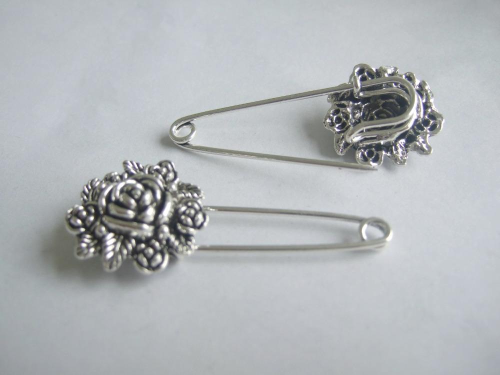 10pcs Silver Tone Rose Flower Durable Strong Metal Shawl font b Kilt b font Scarf Safety
