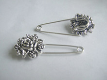 10pcs Silver Tone Rose Flower Durable Strong Metal Shawl Kilt Scarf Safety Brooch Pins 55mm