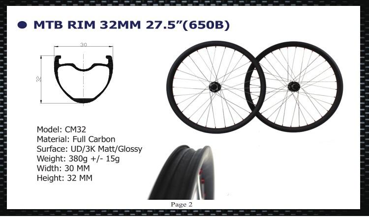 12k 32mm MTB Carbon Rim 650B Clincher 27.5 inches mountain bikcycle carbon fiber rims moutain bike rims(China (Mainland))