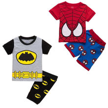 baby 2pcs clothing set!!toddler kids baby boys summer spiderman batman tops shorts outfits set 1-7Y