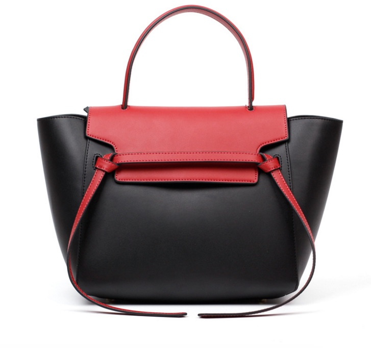 Genuine Leather Trapeze Bag Catfish Shaped Women Messenger Bags Panelled Lady Shoulder Bags