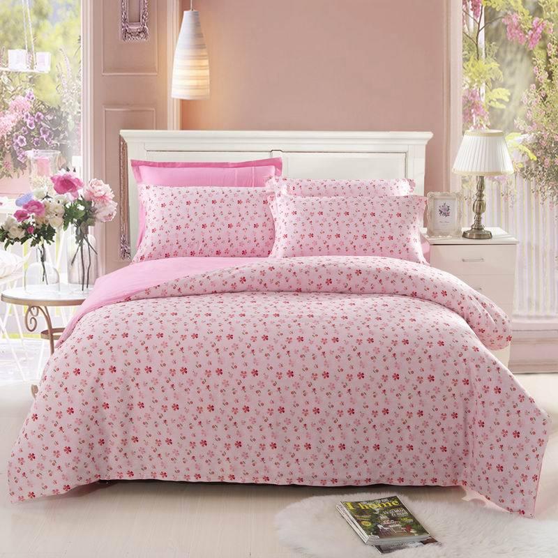 Hot Sale Lovely Bedroom 4pcs Floral Bedding Set Queen Size Pastoral Comforter Cover Set With