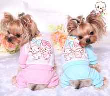 New Pet Clothes Cartoon Print Dog Jumpsuit Suit Autumn And Winter Clothing Puppy Jacket Pink,Blue,XS,S,M,L,XL(China (Mainland))