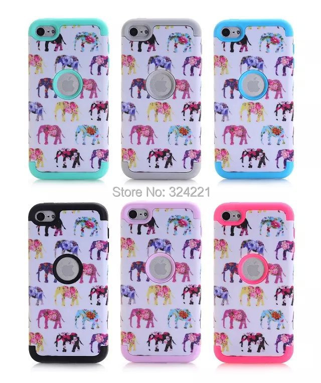 New Animal Elephant Pattern 3 in 1 Shockproof PC Silicone Armor Robot Hybrid Heavy Duty Phone case cover for Ipod Touch 6